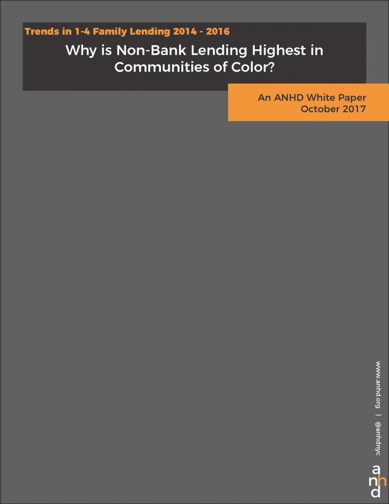 New ANHD White Paper: Why is Non-Bank Lending Highest in Communities of Color?