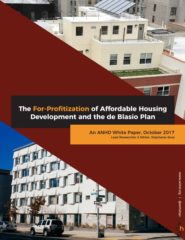 The For-Profitization of Affordable Housing Development and the de Blasio Plan